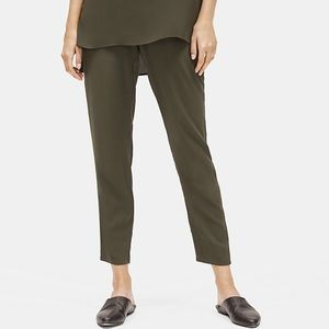 Eileen Fisher Silk Georgette Trousers size Small MED Green